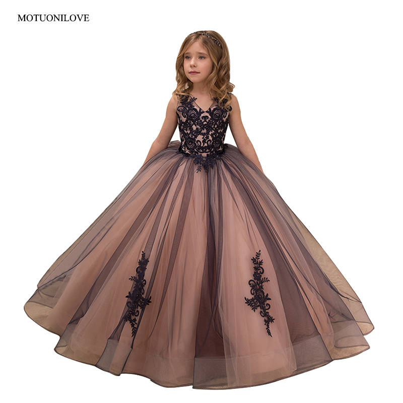 Black Ball Gowns Pageant   Dresses   for   Girls   Lace V Neck Floor Length Long   Flower     Girls     Dresses   Kids Baby First Communion   Dresses