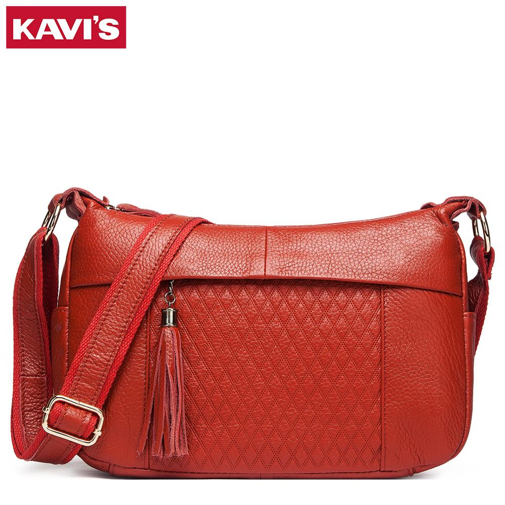 KAVIS 100% Genuine Leather Women Shoulder Bag Female High Quality Messenger Handbag Lady Designer High Qualiity Brand Crossbody