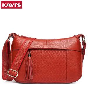 Image 1 - KAVIS 100% genuine leather women shoulder bag female high quality messenger handbag lady designer high qualiity Brand crossbody