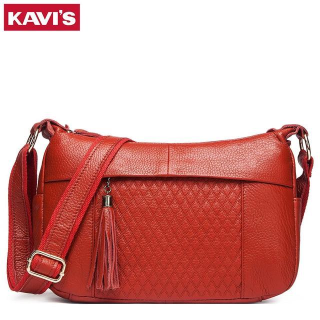 KAVIS 100% genuine leather women shoulder bag female high quality messenger handbag lady designer high qualiity Brand crossbody