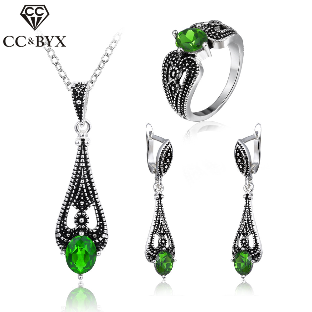 все цены на CC Jewelry Silver Color Vintage Green Stone CZ Set Earring Necklace Ring Fashion Set For Women Party Gift CCAS117
