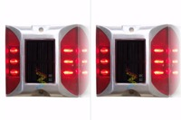 2X Solar Powered LED Road Stud Red Road Flashing Light One Pack
