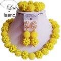 Nueva Amarillo Opaco Cristal y Collar De Perlas De Plástico Joyería Partido de Las Mujeres de Nigeria Perlas de Boda Africanos Joyería Conjunto ZL001