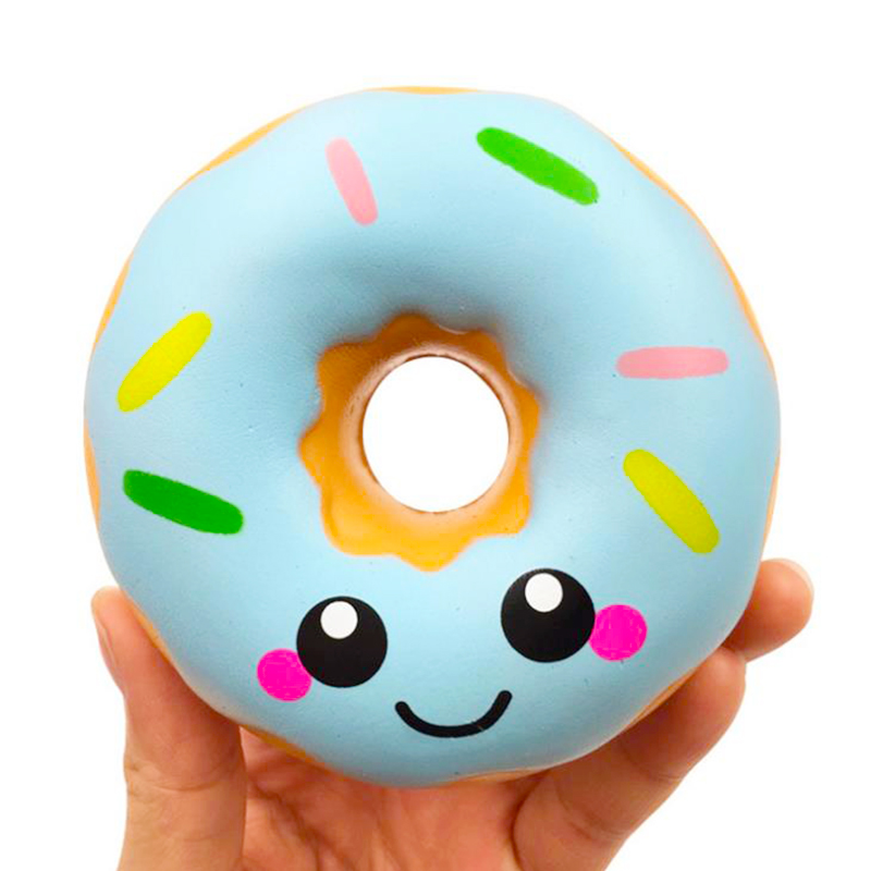 Cute Smiley Donut Squishy Slow Rising Simulation PU Bread Cake Scented Soft Squeeze Toy Stress Relief For Kid Fun Gift 10*10CM