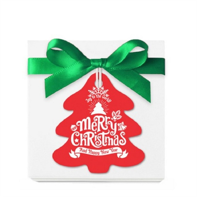 Urijk 100PCS Merry Christmas Letter Paper Labels Hanging Tags