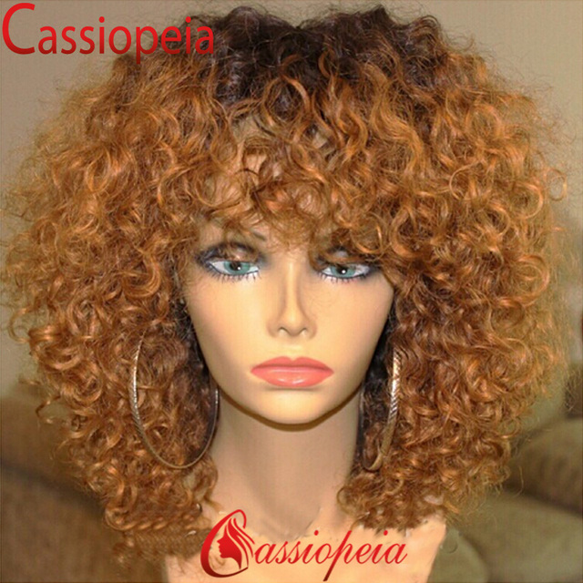 Brazilian Curly Ombre Wigs Human Hair Ombre Full Lace Wig with Bangs Dark  Roots Ombre Curly Lace Front Wigs For Black Women 6154bec5656d