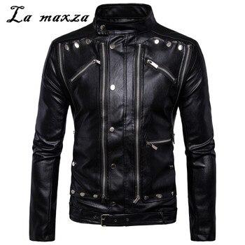 Autumn Men Oversized PU Moto Jackets Casual Rivet Zipper Slim Fit High Quality Leather Black Coat 5xl