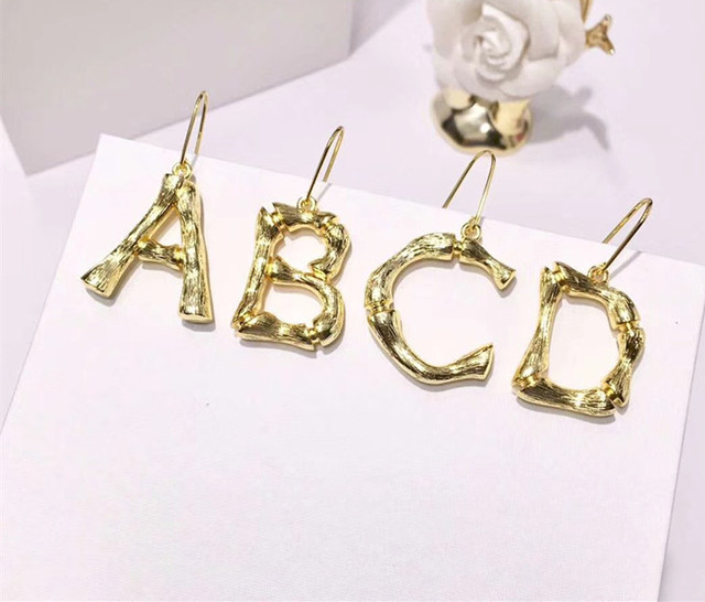 A Z Gold Initial Letter Earrings Irregular Initials Capital Name Stud For Women S Best