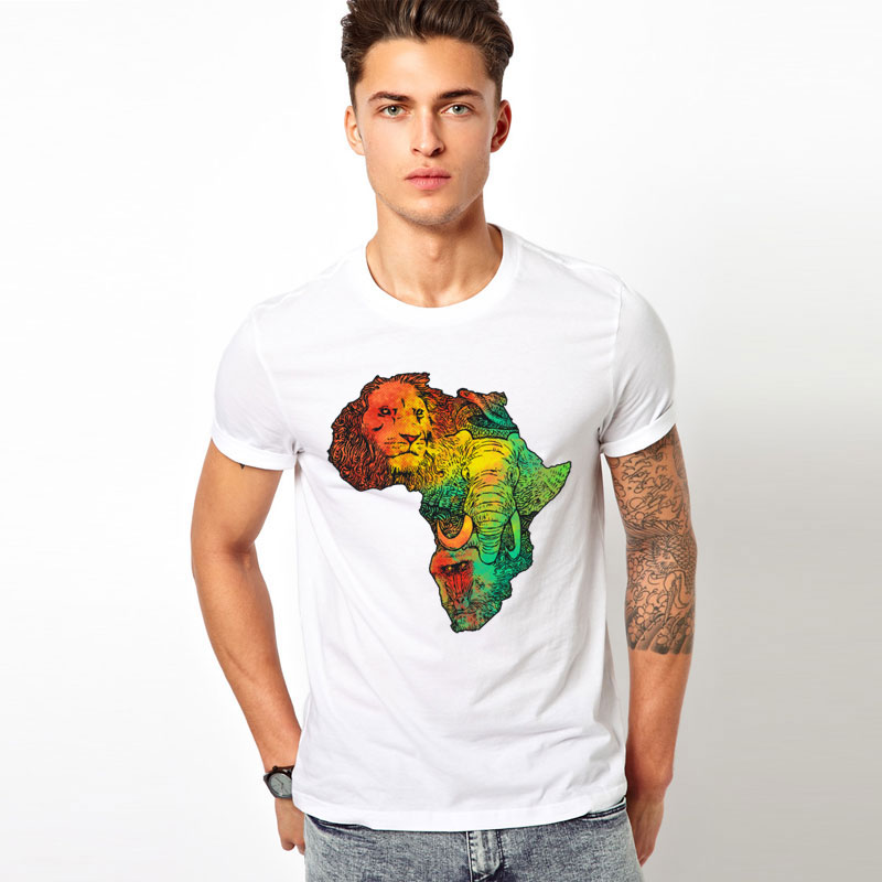 animal world elephant lion T-shirts Men Funny Short Sleeve O-neck Africa map Tshirts 2016 New Fashion Summer Style Brand tops