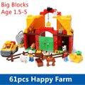 Большие Блоки 61 шт. Happy Farm Set Детские Блоки Смешные Смысл Играть Строительные Блоки Развивающие Игрушки Совместимо с Dupl0