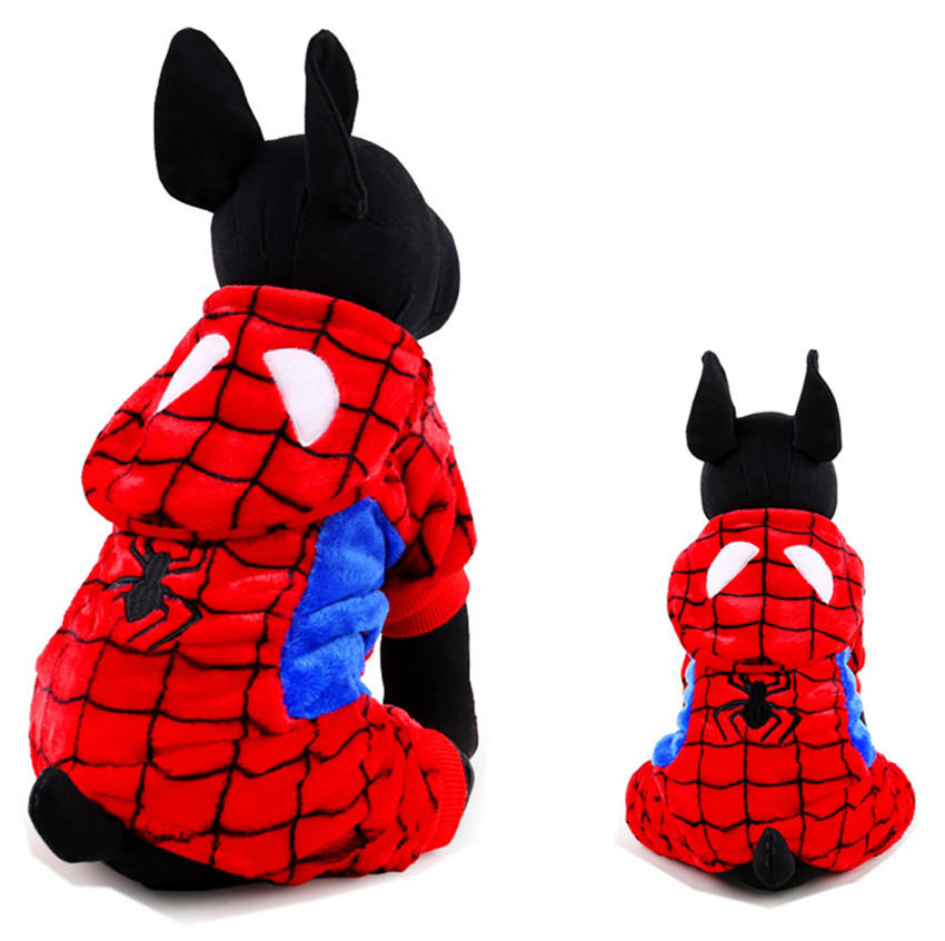 Warm Flannel <font><b>Spiderman</b></font> Dog <font><b>Costume</b></font> <font><b>Pet</b></font> Jumpsuit Puppy Coat Jacket Suit Dog Party Funny Clothes Parka Winter Roupas de Perro 20