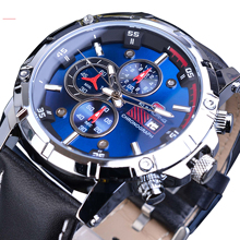 цена на Luxury 2019 Mens Watch Blue 3 Sub Dial Date Chronograph Sport Quartz Wristwatch Genuine Leather Military Watches Masculino Clock