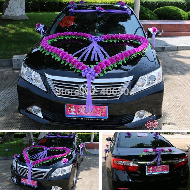 Fleurs artificielles mariage voiture fleur décoration ensemble, rouge, rose violet grand coeur forme maison décoration mariage décoratif fleur - 3
