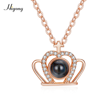 Silver Rose Gold Crown Pendant Necklace for Girls Women Lovers Nano Technology Memory Projection Say I Love You in 100 Languages