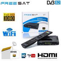 Meilleur 1080 P DVB-S2 FREESAT V7 HD CCcam serveur espagne italie Satellite TV récepteur PK GTmedia V8 Nova Freesat V9 Super + USB WIFI