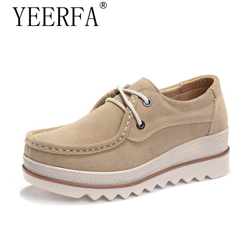 2018 Spring women flats thick soled   leather     suede   platform sneakers shoes female casual shoes lace up flats creepers