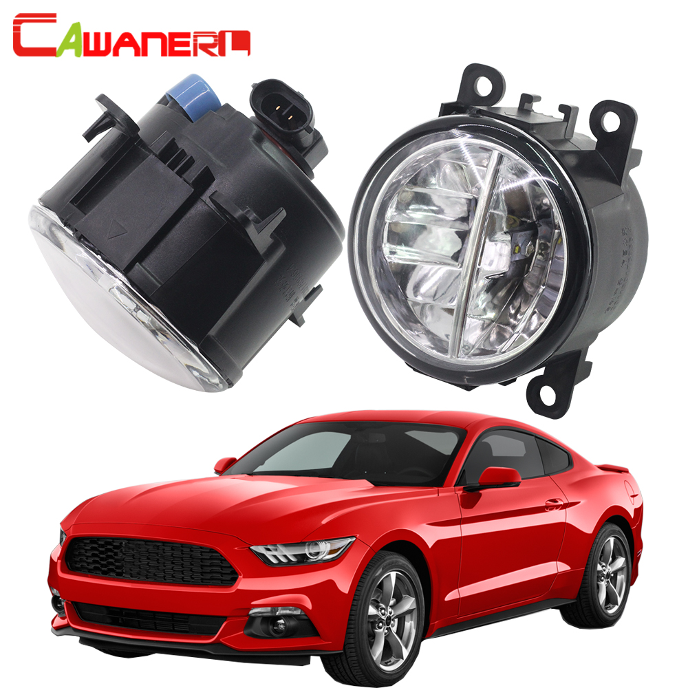Cawanerl 2 X H11 Car Accessories LED Bulb Fog Light 4000LM White 6000K DRL Daytime Running Lamp 12V For Ford Mustang 2005-2013 cawanerl 2 x car led fog light drl daytime running lamp accessories for nissan note e11 mpv 2006