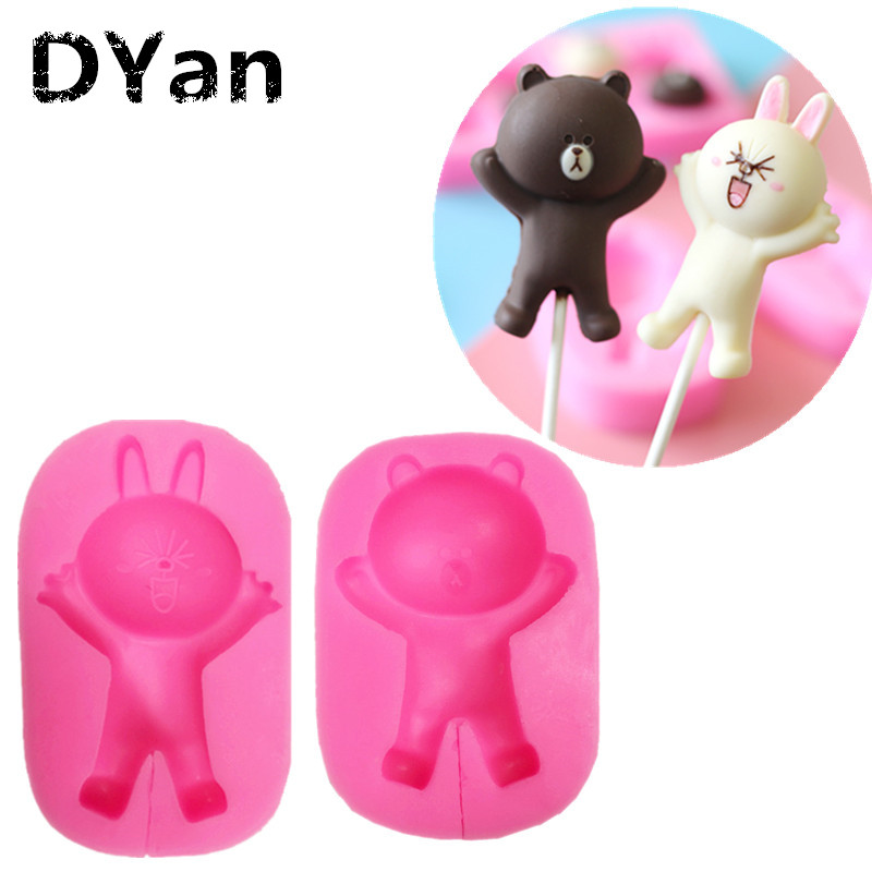 3d Animal Cartoon Rabbit Silicone Mold Bunny Cake Decorating Mousse Candy Jelly Ice Lolly Mould Soap Candle Moulds Baking & Pastry Spatulas Bakeware