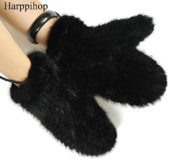 Knit Mink Fur Gloves Fashion Lady's 100% Genuine Mink Fur Mittens Elastic Wrist Gloves High Quality Winter Women's Gloves