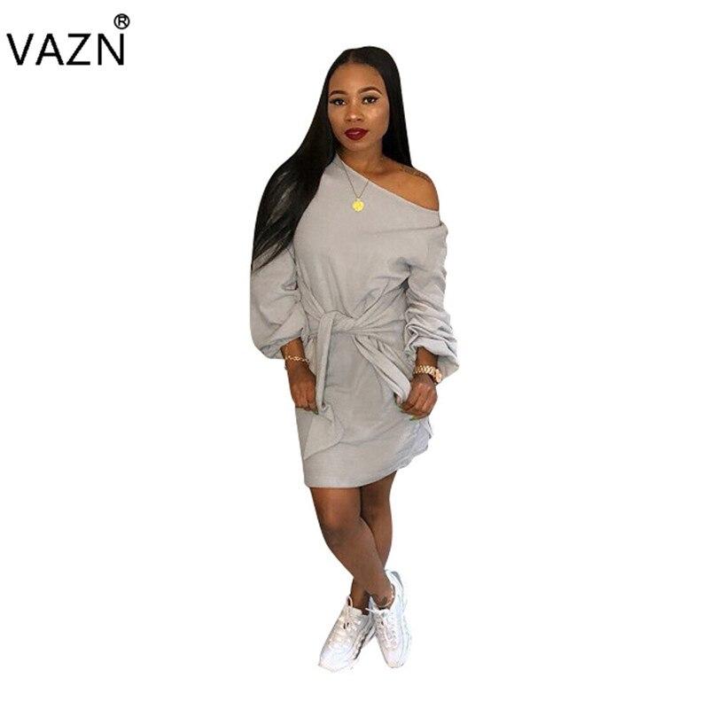 VAZN Autumn Hot Casual Fashion Famous Brand Women Dress Solid O-Neck Full Puff Sleeve Lady Loose Elegant Lady Mini Dress SD9020