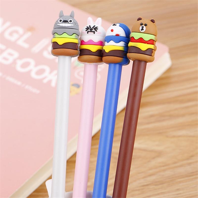 Japanese Creative Cartoon Food Gel Pen Stationery Store Doraemon Totoro Rabbit Bear Escritorio School Kid Cute Anime Kawaii Shop