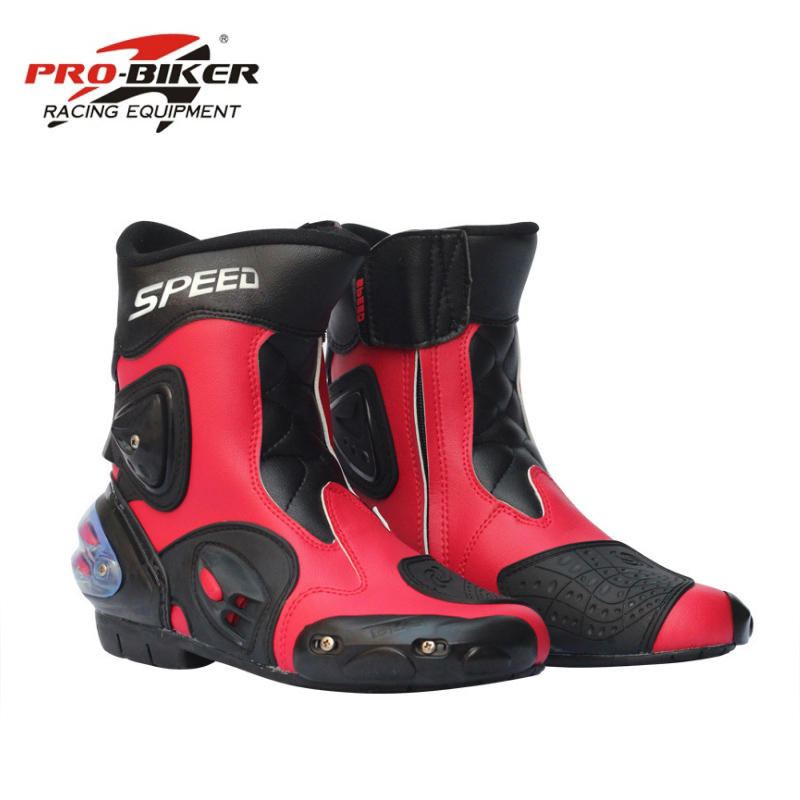 White /& Red Water resistant Motorcycle Motorbike Leather Boots