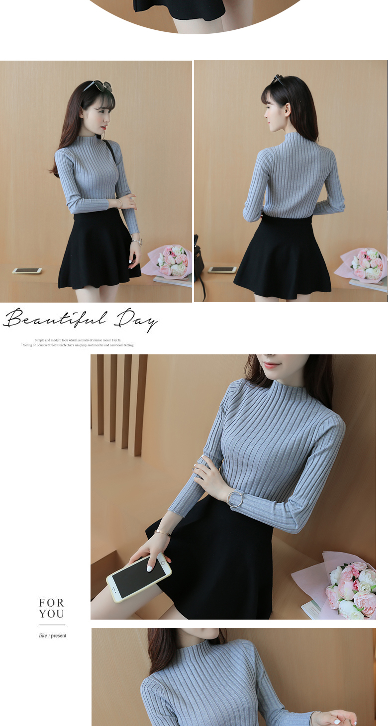 19 Autumn and winter New Korean Half turtleneck Sweater jacket Womens Long Sleeve Set head All-match knitted Sweater woman 17