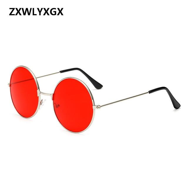 ZXWLYXGX 2018 Burst en métal circulaire mode marine lentilles rouge lunettes  de soleil hommes et femmes 4ece4ca72b84