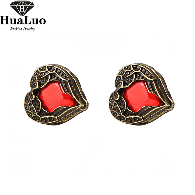 New Arrival Fashion Red Peach Heart Gem Angel Wings Stud Earrings(Red) E122