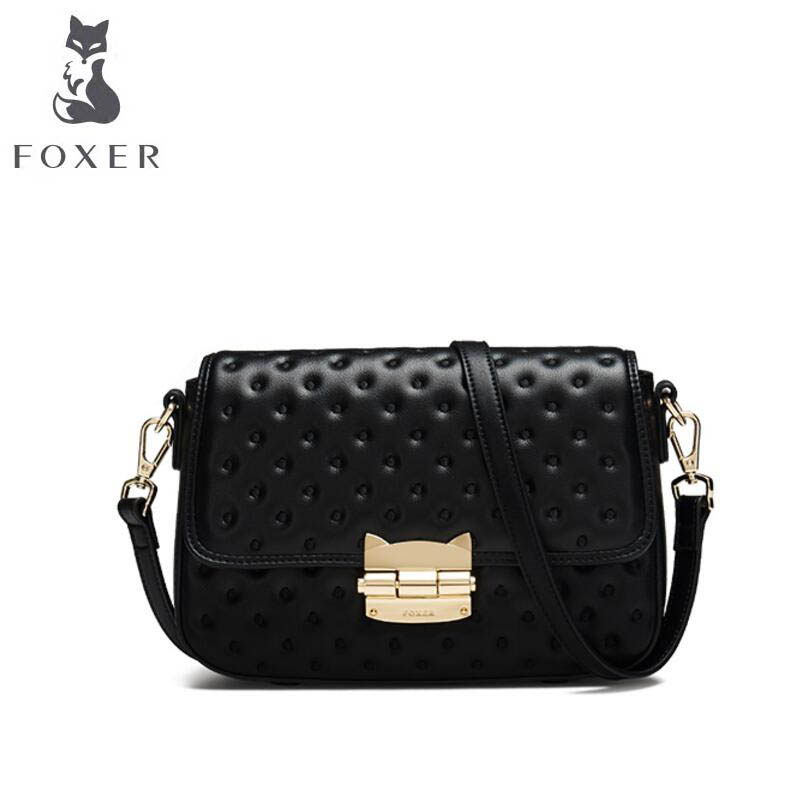 FOXER2018 new luxury fashion high-end Messenger small square bag wild bag fashion buckle shoulder bag leather Korean bag 2018 new female korean version of the bag with a small square package side buckle shoulder messenger bag packet tide