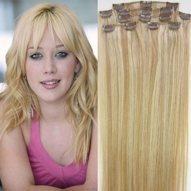 "free shipping 16""- 32"" 8pcs Set #27/613 Hair Pieces Soft Indian Remy hair Clip in / on Human Hair Extenions 120g 140g 160g"