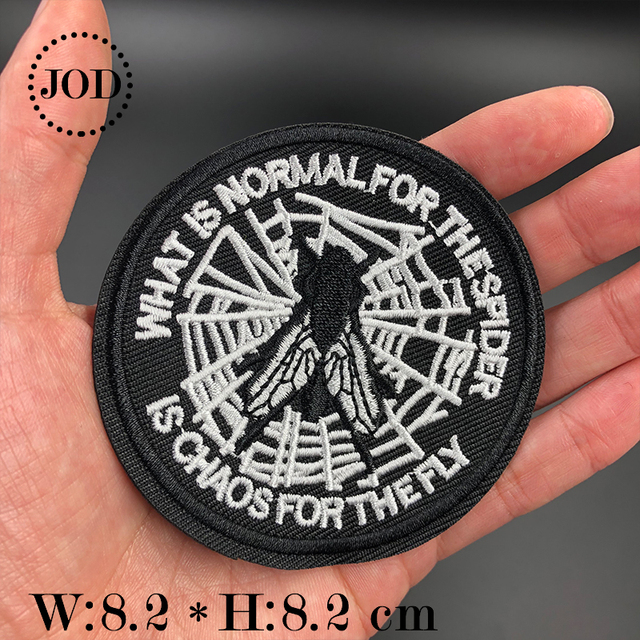Jod Spider Chaos Fly Black Biker Embroidery Iron On Patches For