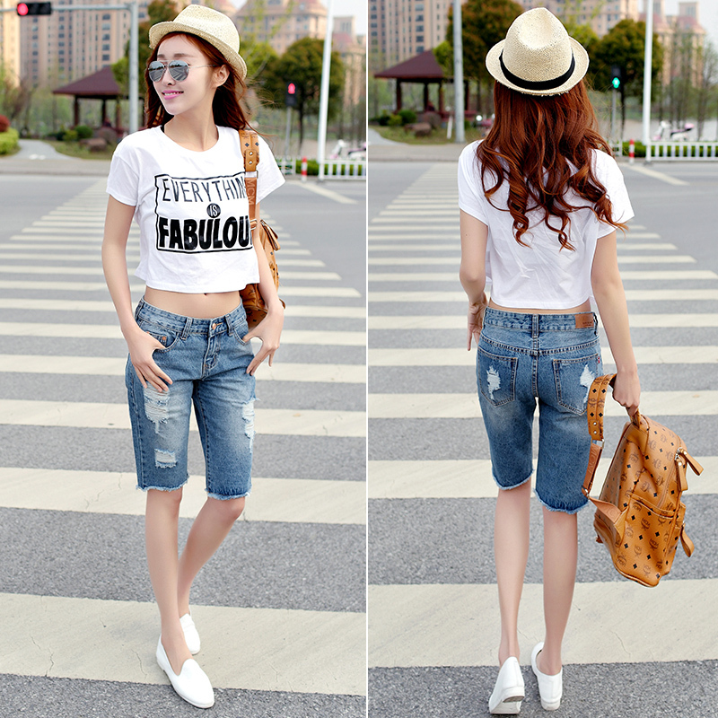 Online Shop 2015 summer women new knee-length curling ripped hole ...