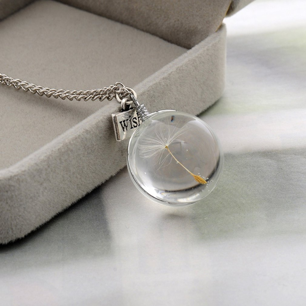 Wish Natural Dandelion Glass Round Pendant Necklace Charming Party Daily Necklace Women Men Jewelry for Dropshipping