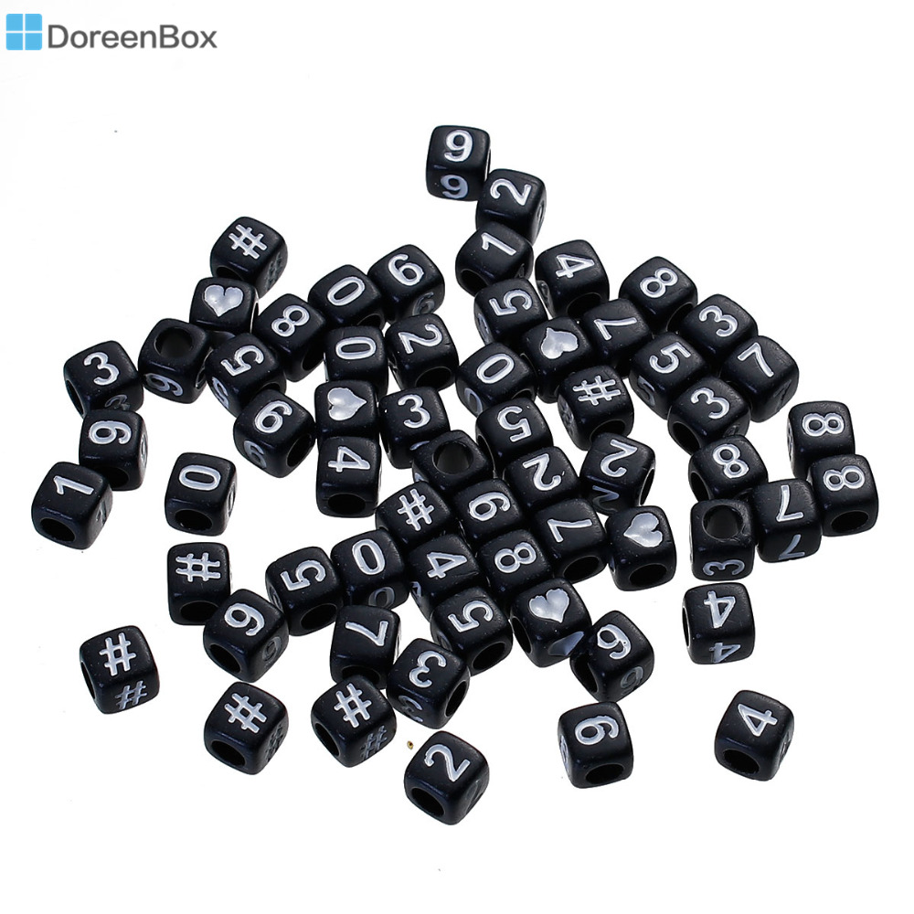 Doreen Box Acrylic Spacer Beads Square Black At Random Number Pattern White Enamel About