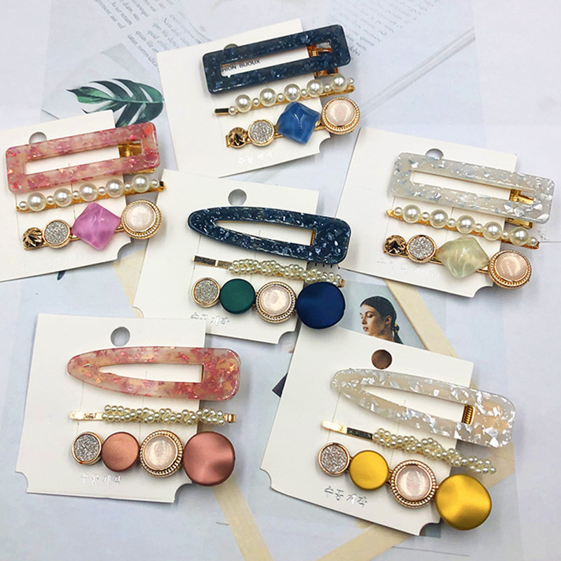 Ins Fashion Women Girls marbling Pearls Candy color Hair Clips Hair Hairpins Barrettes Headband Hair Accessories Sweet Headwear(China)