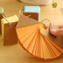 DHL Free Wholesale 50PCS Creative Candy Color Buckle Binder Notes Portable Flash Cards Memo Pads Cute Stationery DIY Blank Card