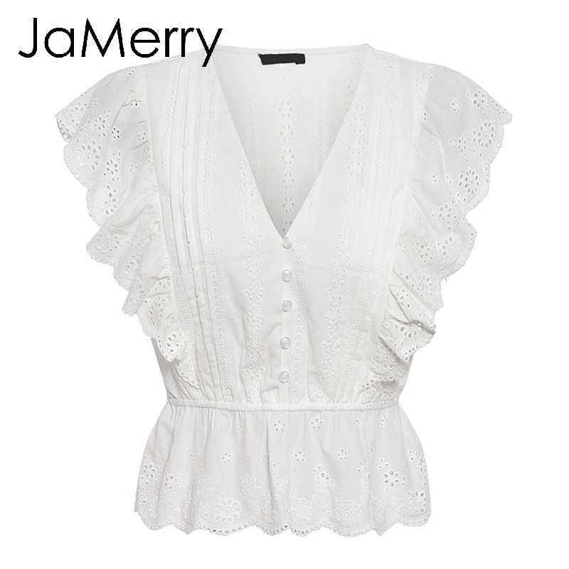 JaMerry Causal white embroidery lace hollow out blouse shirt women Ruffles woman blouse top Female elastic waist cotton tops