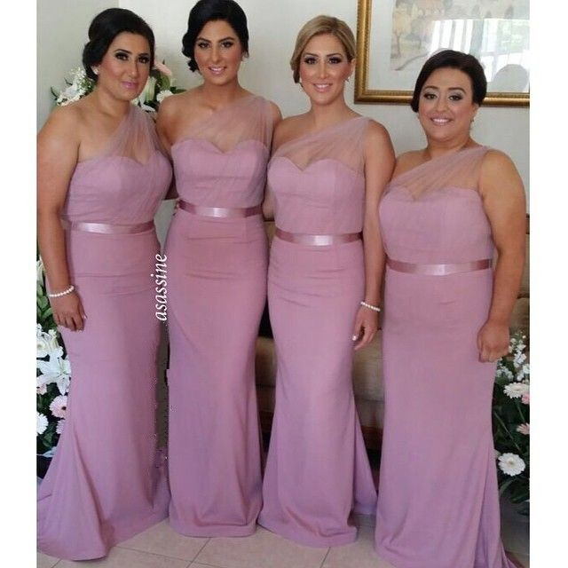 2017 Dusty Rose Pink Bridesmaid Dresses One Shoulder Tulle Chiffon ...