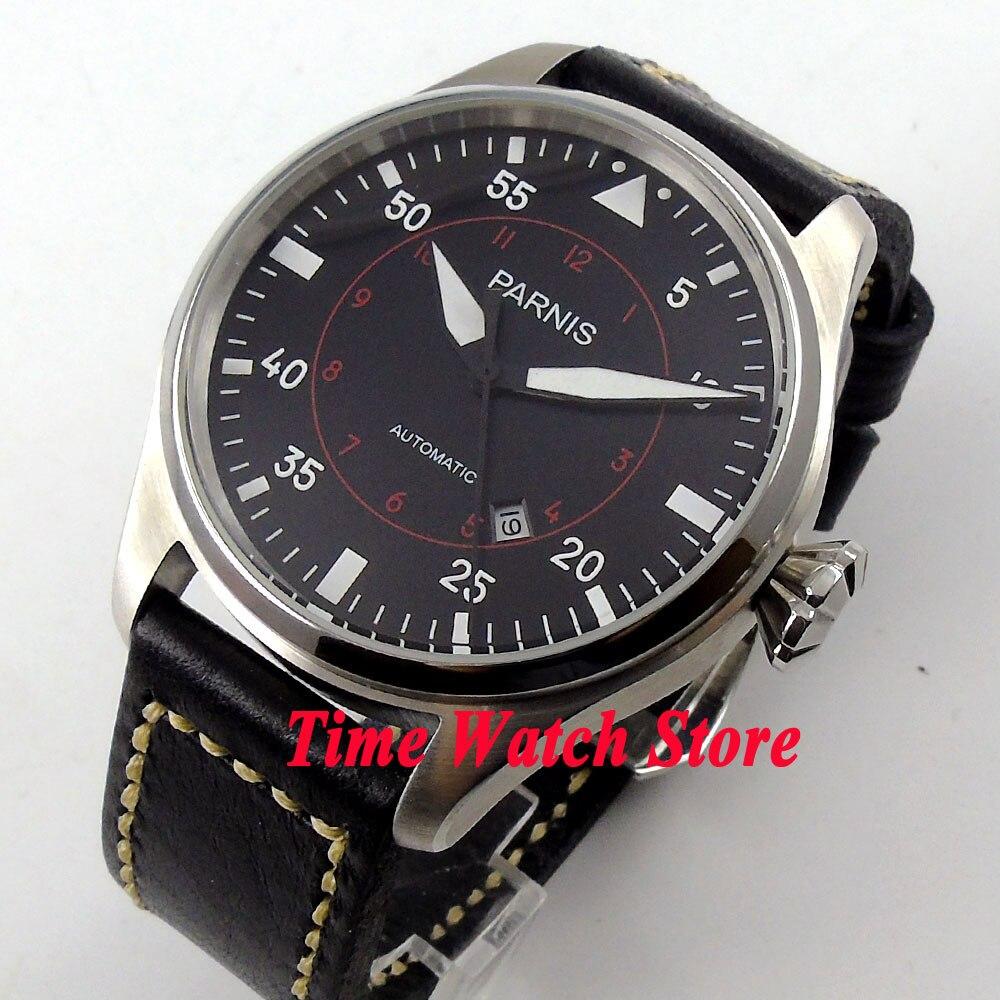 47mm parnis black dial luminous date window black leather strap MIYOTA automatic movement men's watch 575 все цены