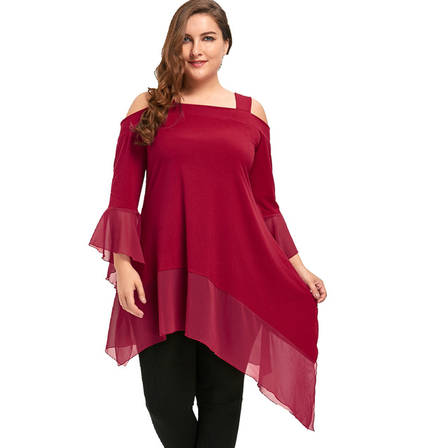 9aa86f8e0bc Women Blouse Shirt Plus Size Cold Shoulder Long Sleeve Asymmetric Tunic Top