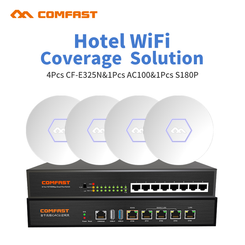 Small Hotel Wifi Coverage Solution COMFAST 300Mbps Wireless access point open DD WRT AP Router 4pcs ap +1 poe switch+ 1 ac route
