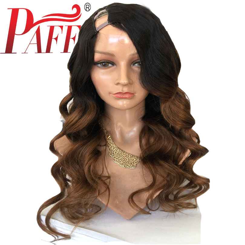 PAFF Ombre U Part Human Hair Wigs Middle Part 180Density Brazilian Remy Hair Body Wave 1*4 U Opening Wigs 1BT30 Two Tone Color