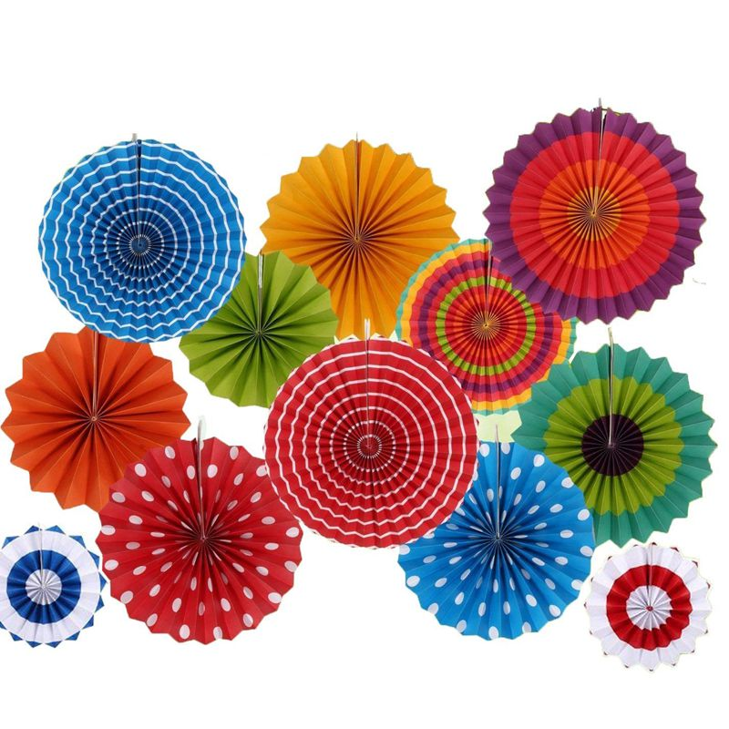 HOT-Paper Flowers Fan For Party/Birthday Decoration 12 Pcs/Pack(China)