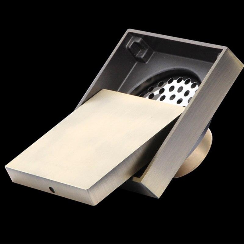 Salle de bain Drain de sol en laiton massif rétro évier carrelage Insert 100mm douche drain déchets 10*10cm douche plancher drain Bathroon AWX0002 - 6
