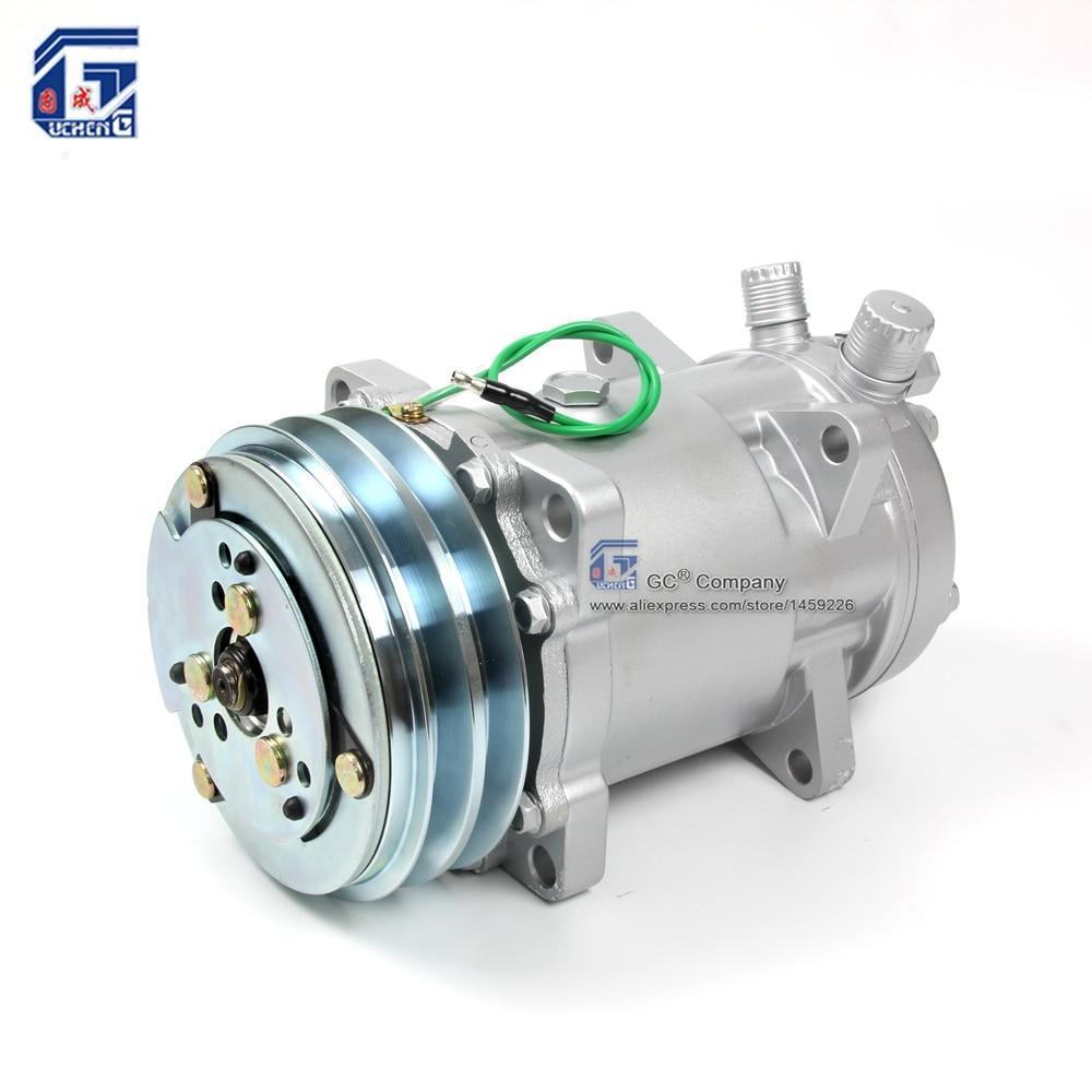 Sanden SD510 5H16 510 SD5H16 Compressor 12V 24V 2 Groove V Belt Pulley Tractor Excavator Heavy