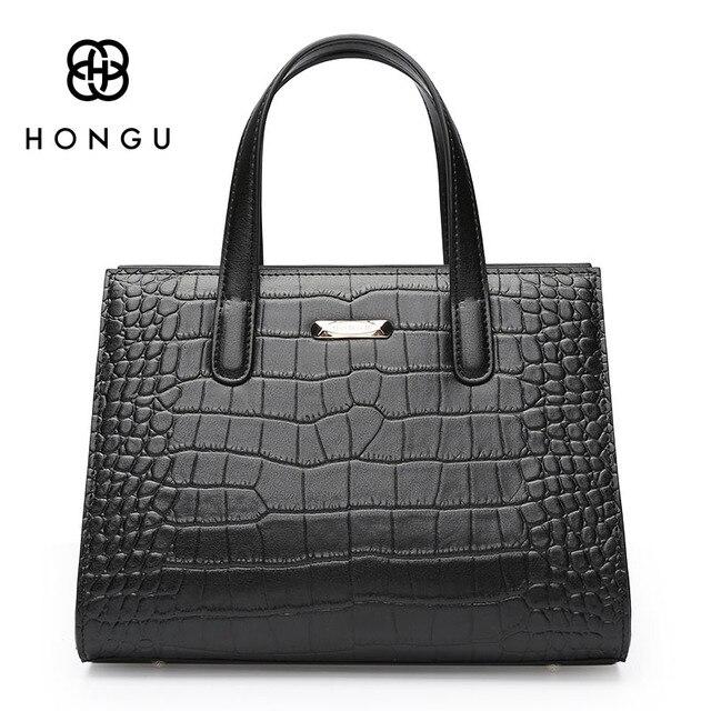 663955a414 HONGU Luxury Europe Genuine Cow Leather Women Handbags Fashion Crocodile  Female Messenger Crossbody Shoulder Bags Chain Handbag