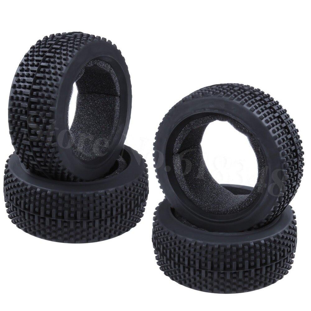 "4pcs Rubber 3.2"" Tire 17mm Hub Diameter 115 For RC 1/8 Off Road Buggy Hobao Hyper HSP HPI Losi Ofna Kyosho(China)"