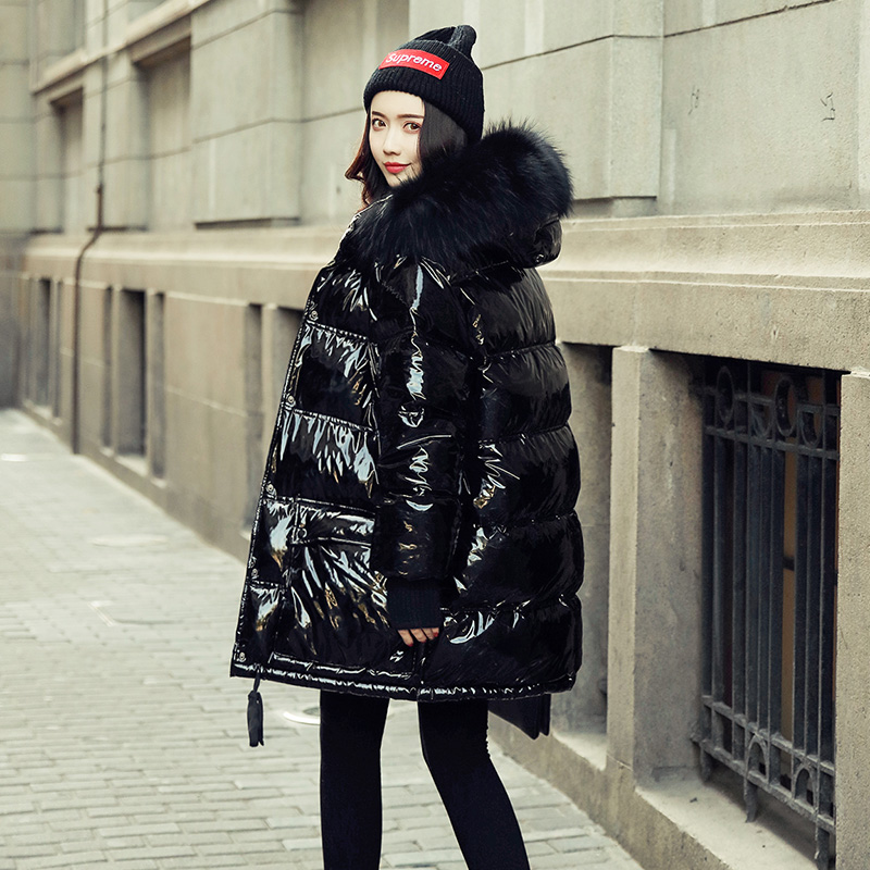 Winter Jacket Women   Coat   Duck   Down   Parka Large Real Raccoon Fur Collar Hooded Loose Glossy Patent Leather Snow Wear Waterproof