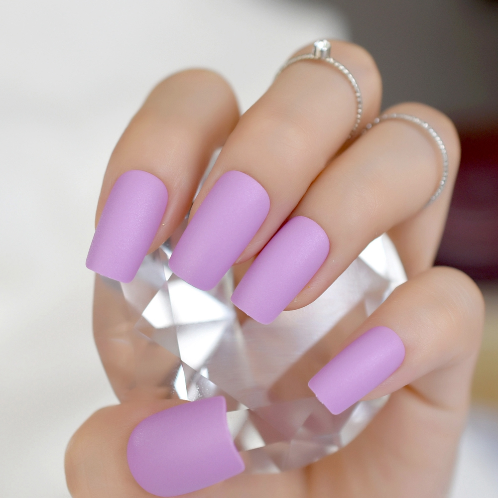 24pcs/kit Matte Design Nail Art Kit Light Purple Medium ...